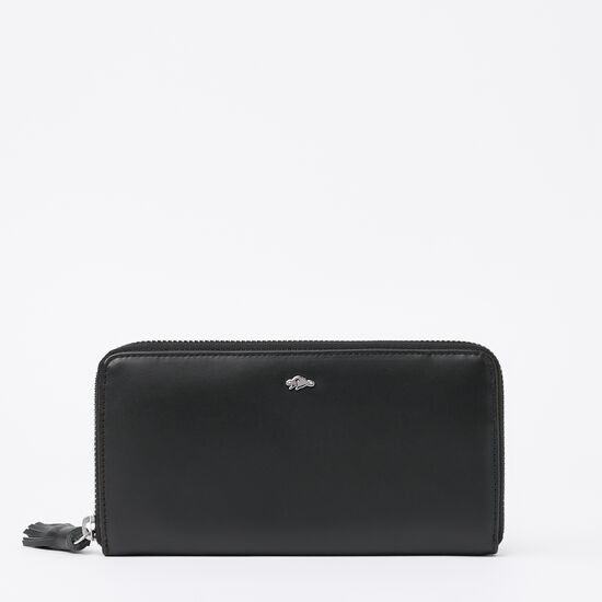 Roots-Leather Wallets-Zip Around Clutch Box-Black-A