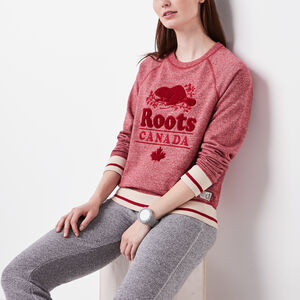 Roots-Women Sweatshirts & Hoodies-Roots Cabin Chenille Crew-Lodge Red Pepper-A