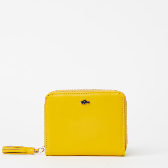 Roots-Women Wallets-Small Tassel Wallet Bridle-Yellow-A