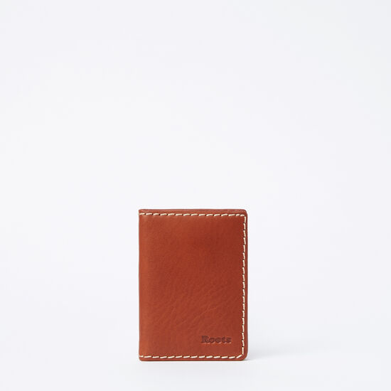 Roots-Leather Men's Wallets-Card Case With ID Veg-Oak-A