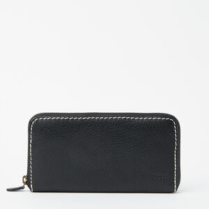 Roots-Leather Wallets-Zip Around Clutch-Black-A