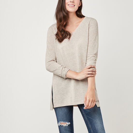 Roots-Women Long Sleeve T-shirts-Nanoose V Neck Top-Natural Mix-A