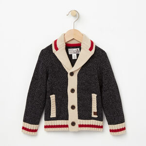 Roots-Gifts For Kids-Toddler Roots Cabin Shawl Cardigan-Black Mix-A
