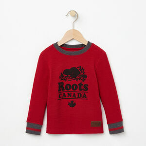Roots-Kids Tops-Toddler Roots Cabin Waffle Top-Lodge Red-A