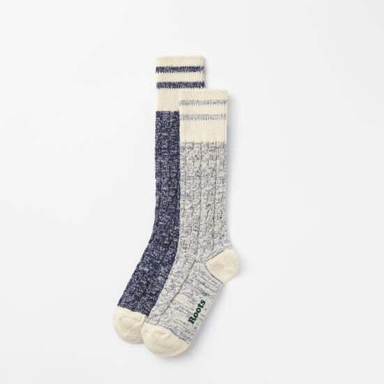 Roots-Women Socks-Womens Cable Park Sock 2 Pack-Cascade Blue-A