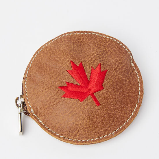 Roots-Men Leather-Maple Leaf Coin Pouch Tribe-Africa-A