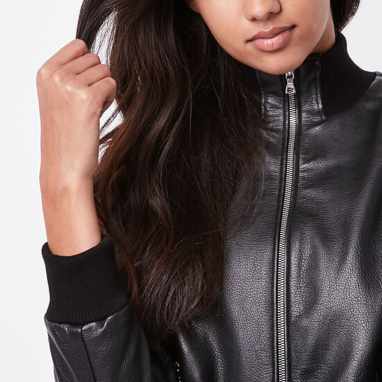 Roots-Leather Women's Leather Jackets-Womens Soho Jacket Lake-Black-A