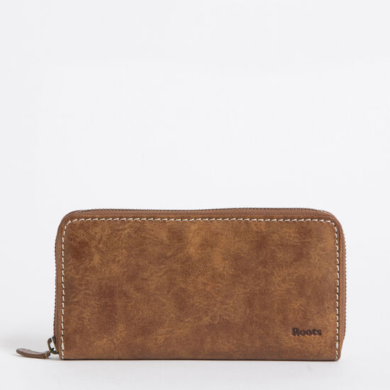 Roots-Leather Women's Wallets-Zip Around Clutch Tribe-Africa-A