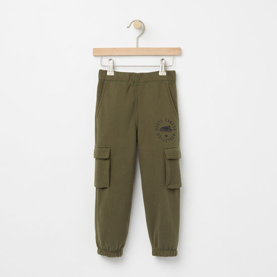 Roots-Kids Sweats-Toddler Brandon Cargo Sweatpant-Olive Night Green-A