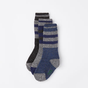 Roots-Kids Accessories-Boys Rink Sock 3 Pack-Navy Blazer Mix-A