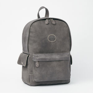 Roots-Leather Backpacks-Central Pack Tribe-Charcoal-A