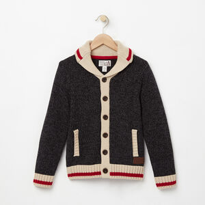 Roots-Gifts For Kids-Boys Roots Cabin Shawl Cardigan-Black Mix-A
