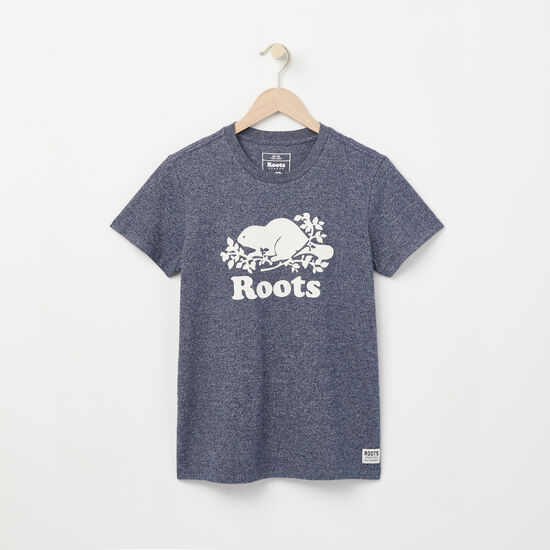 Roots-Women Graphic T-shirts-Cooper Beaver T-shirt-Navy Blazer Pepper-A