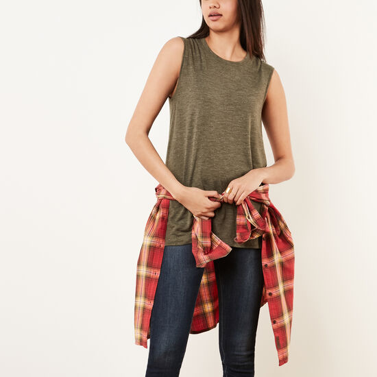 Roots-Women Short Sleeve T-shirts-Abbey Slit Top-Sea Turtle Mix-A