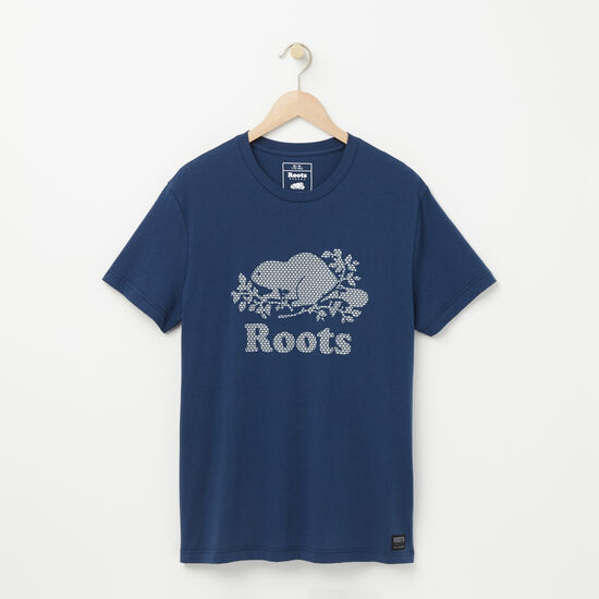 Roots-Men Graphic T-shirts-Cooper Maple T-shirt-Insignia Blue-A