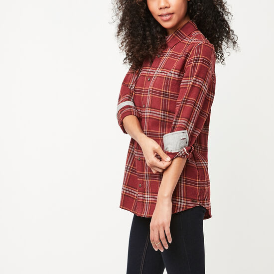 Roots-Women New Arrivals-Varley Plaid Shirt-Tibetan Red Mix-A
