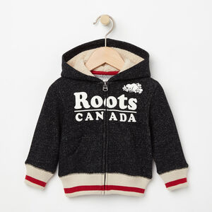 Roots-Kids The Roots Cabin Collection™-Baby Roots Cabin Full Zip Hoody-Black Pepper-A