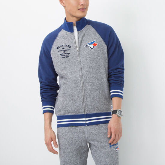 Roots-Men Toronto Blue Jays™-Mens Blue Jays Stadium Full Zip Mock-Salt & Pepper-A
