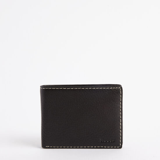Roots-Leather Men's Wallets-Mens Slimfold Top Flap Prince-Black-A