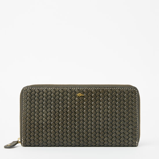 Roots-Leather New Arrivals-Zip Around Wallet Woven-Pine-A
