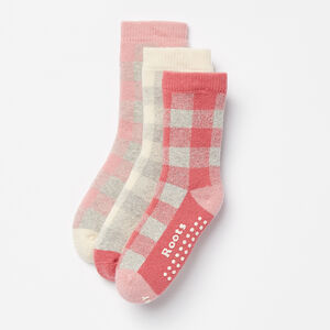 Roots-Kids Accessories-Toddler Check Sock 3 Pack-Rose Smoke-A