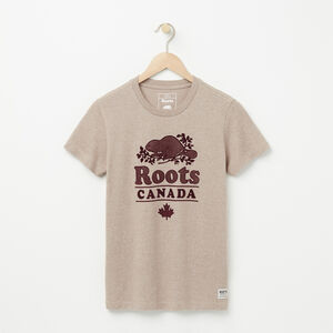 Roots-Femmes Tshirt Illustré-T-shirt Chalet Roots-Poivre D'avoine-A