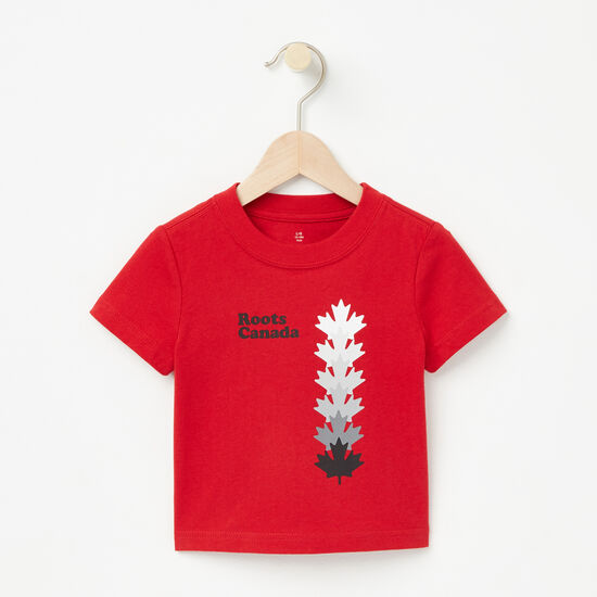 Roots-Kids New Arrivals-Baby Roots Canada Leaf T-shirt-Sage Red-A