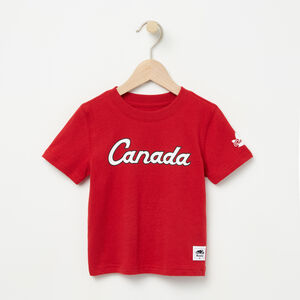 Roots-Kids Canada Collection-Toddler Heritage Script T-shirt-Sage Red-A