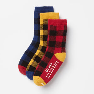 Roots-Kids Accessories-Toddler Check Sock 3 Pack-Multi-A