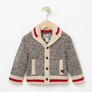Roots-Kids Baby Girl-Baby Roots Cabin Shawl Cardigan-Grey Oat Mix-A