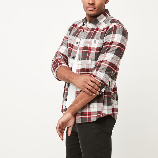 Roots-Men New Arrivals-Rivers Flannel Shirt-Charcoal Mix-A