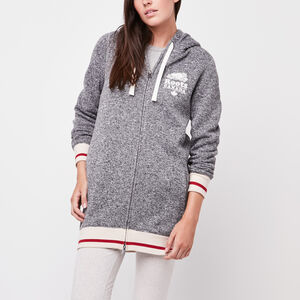 Roots-Women The Roots Cabin Collection™-Sweater Fleece Cabin Full Zip-Grey Oat Mix-A