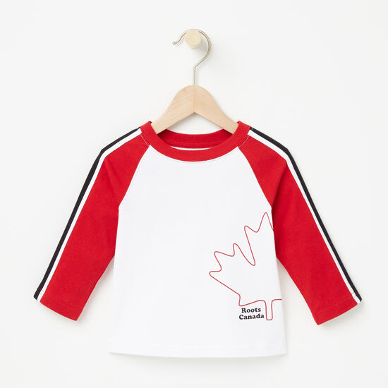 Roots-Kids New Arrivals-Baby Slater Baseball Top-White-A