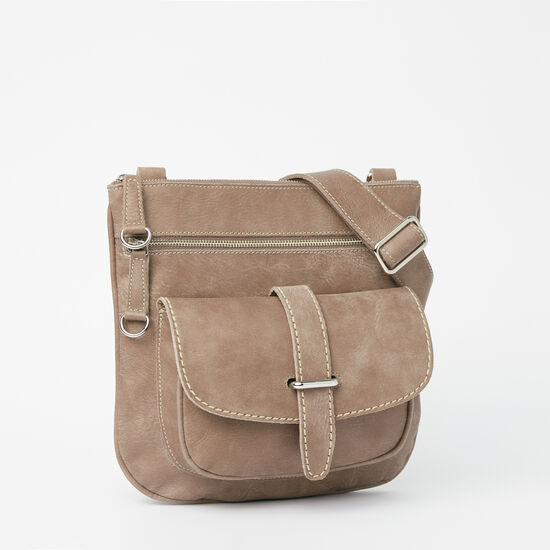 Roots-Leather Crossbody-Side Saddle Tribe-Fawn-A