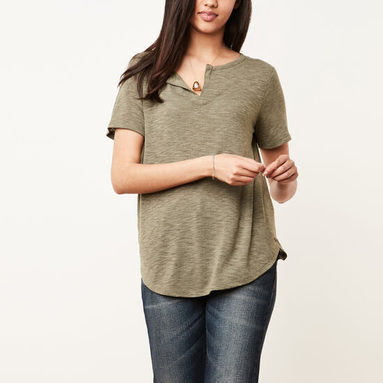 Roots-Women Short Sleeve T-shirts-Jodie Top-Dark Olive Green Mix-A