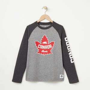 Roots-Kids Canada Collection-Boys Heritage Canada Long Sleeve T-shirt-Salt & Pepper-A