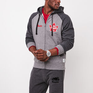 Roots-Leather Features-Heritage Full Zip Hoody-Salt & Pepper-A