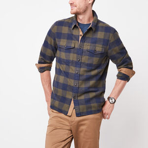 Roots-Men Plaids-Algonquin Flannel Shirt-Navy Blazer Mix-A