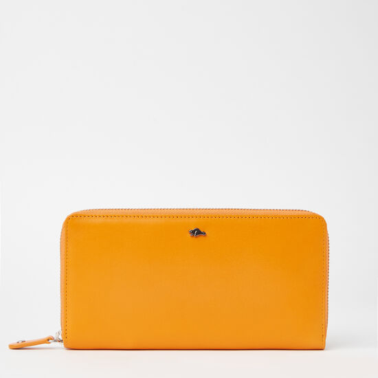 Roots-Leather Women's Wallets-Zip Around Wallet Bridle-Orange-A