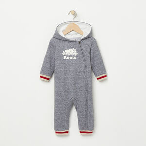 Roots-Kids Baby Girl-Baby Roots Cabin Hood Romper-Salt & Pepper-A