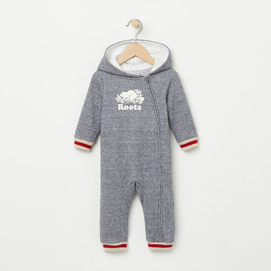 Roots-Kids New Arrivals-Baby Roots Cabin Hood Romper-Salt & Pepper-A