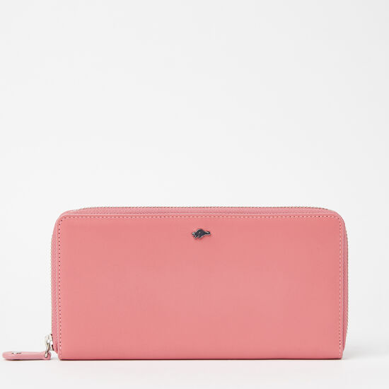 Roots-Leather Women's Wallets-Zip Around Wallet Bridle-Rose Pink-A