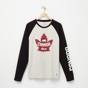 Roots-Men Canada Collection By Roots™-Heritage Long Sleeve T-shirt-White Grey Mix-A
