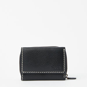 Roots-Leather Wallets-Small Trifold Clutch-Black-A