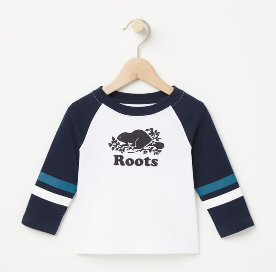 Roots-Kids T-shirts-Baby Riley Baseball Top-White-A