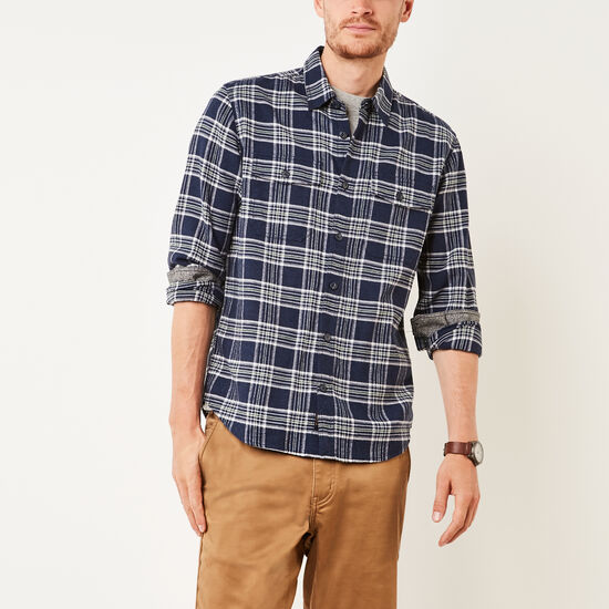 Roots-Men New Arrivals-Heritage Flannel Shirt-Navy Blazer Mix-A