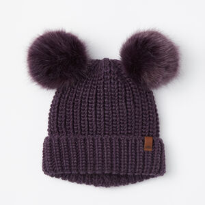 Roots-Kids Accessories-Girls Olivia Fur Pom Pom Toque-Night Shade-A
