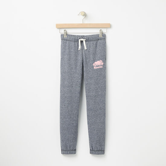 Roots-Kids Bottoms-Girls Roots Slim Sweatpant-Navy Blazer Pepper-A