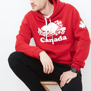 Roots-Women Men's-Mens Cooper Canada Kanga Hoody-Sage Red-A
