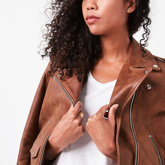 Roots-Women Leather Jackets-Moto Jacket Tribe-Africa-A